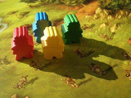Meeples of the Stone age board game